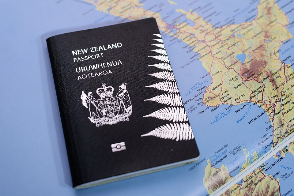 New Zealand Passport and NZ map
