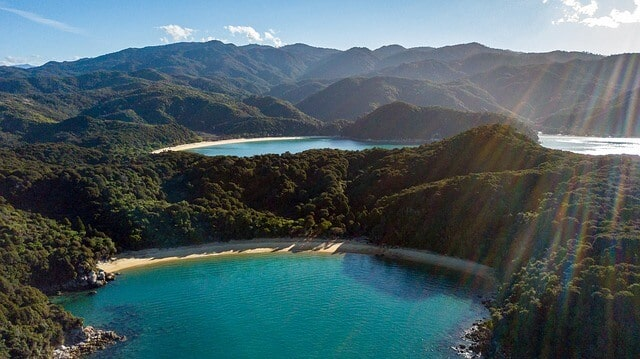 Abel Tasman National Park with sunlight