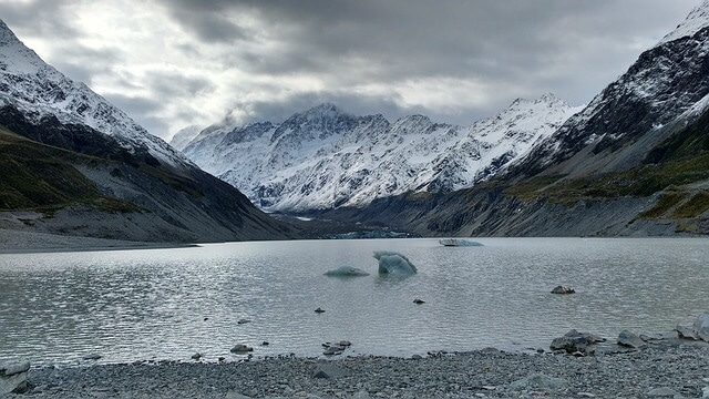 Hooker Glacier with snow and ice at New Zealand National Park