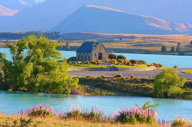 Lovely view of Lake Tekapo landscape