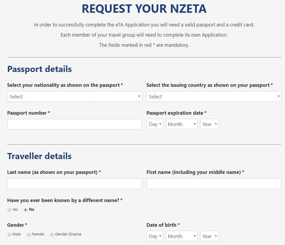The New Zealand eTA application form